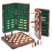 Vikbart Schackbräde och damspel i padaukträ - 2 spel i 1