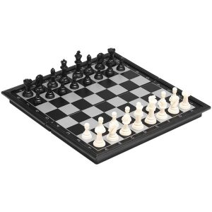 Schack Set - Svart/Vita Pjäser 32x32cm