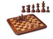Schackbräde i Rosenträ och Lönn med vägda schackpjäser i Buxbom
