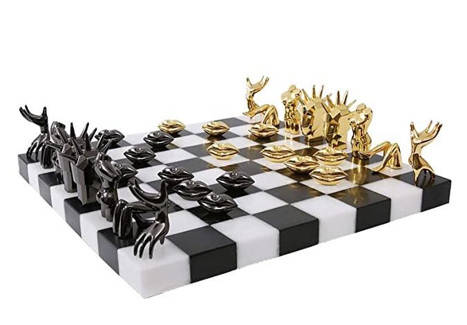 Schackbräde vit & svart marmor